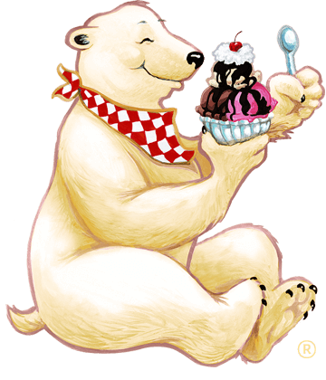 Polar bear eating a Herrell's® ice cream sundae