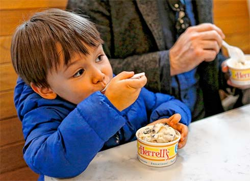 William Takahashi-Risinger, 3, eating ice cream