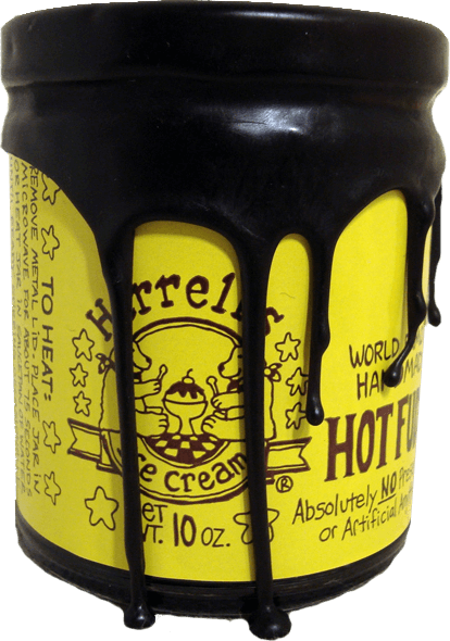 Jar of Herrell's® hot fudge with wax coating